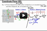 Midpoint - Finding an Unknown Endpoint on a Coordinate Plane Video Link