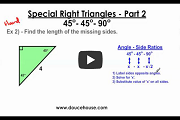 Special Right Triangles Part 2 Video Link